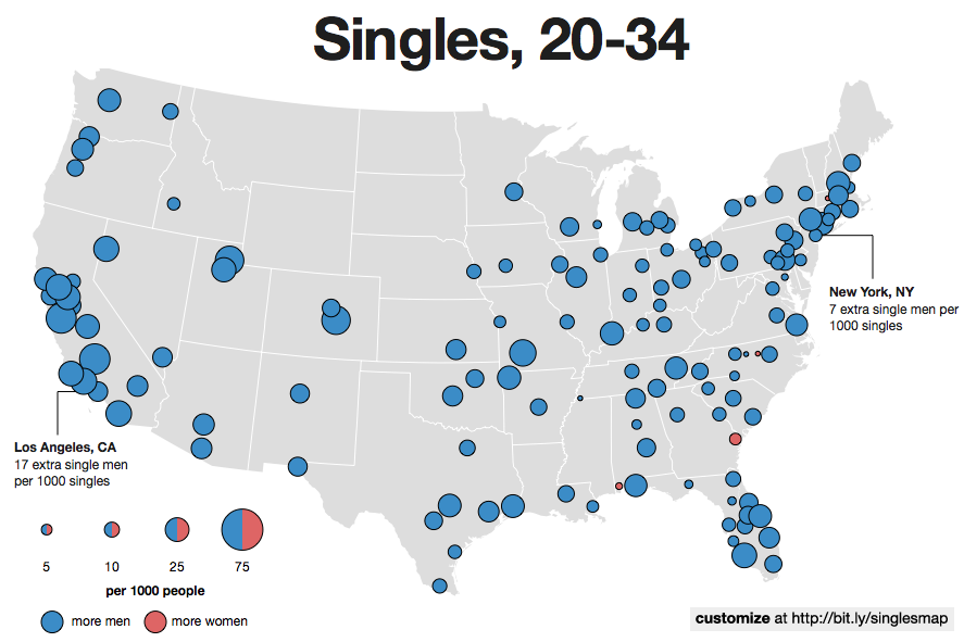 The New Interactive Singles Map - Los angeles us map