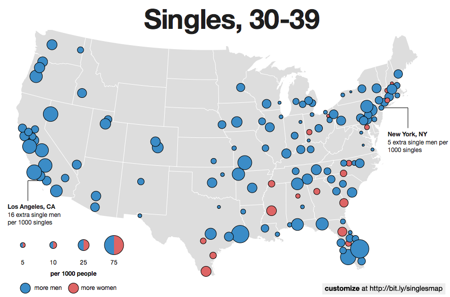 The New Interactive Singles Map - Man in the us map